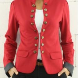 Kırmızı Hakim Yaka Bayan Ceket Modelleri