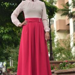 Pembe Bayramlık Tesettür Elbise Modelleri