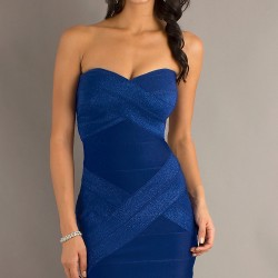 Straplez Mini Mavi Elbise Modelleri