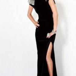 Taş Süslemeli Kadife Elbise Modelleri
