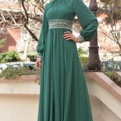 Yeşil Bayramlık Tesettür Elbise Modelleri