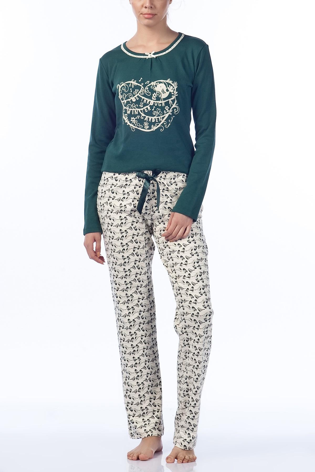 Haki Yuvarlak Yaka Yeni Pijama Modelleri