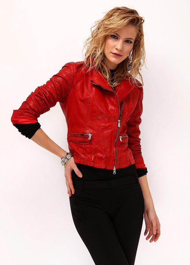 Kırmızı Deri Ceket Derimod Modelleri