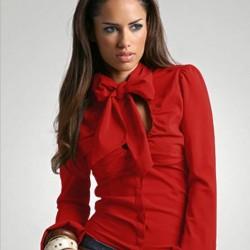 Kırmızı Yeni İpek Bluz Modelleri,