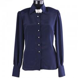 Lacivert Yeni İpek Bluz Modelleri,