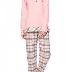 Pembe Yuvarlak Yaka Yeni Pijama Modelleri
