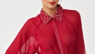 Şifon Kırmızı Benetton Gömlek Modelleri