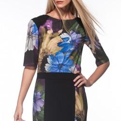 Siyah Bloklu Çiçek Desenli Yeni Sezon Elbise Modelleri
