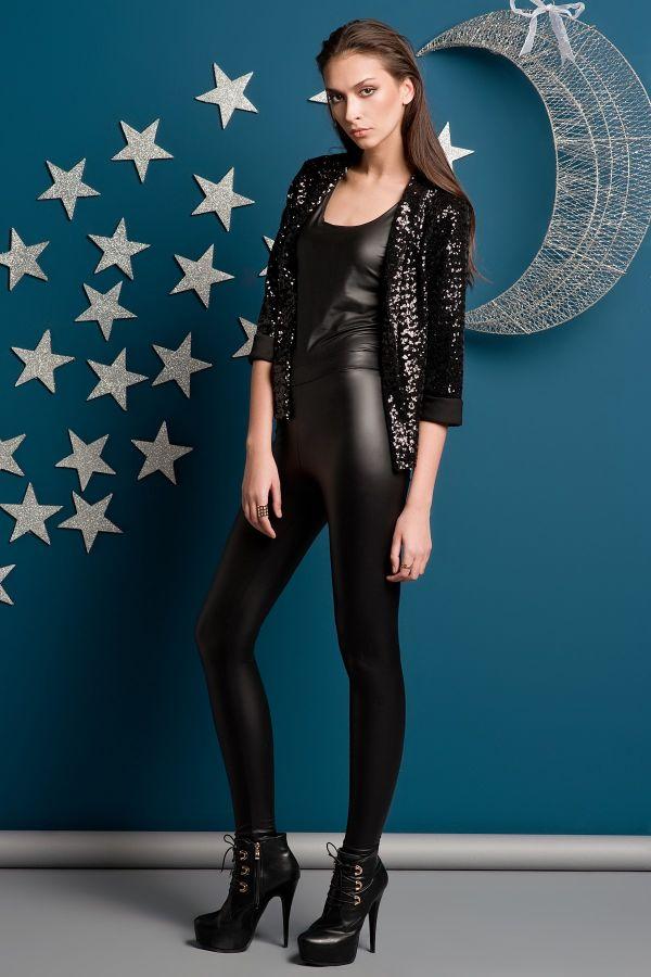 Siyah Deri Tayt Yeni Sezon Kakao Suit Modelleri