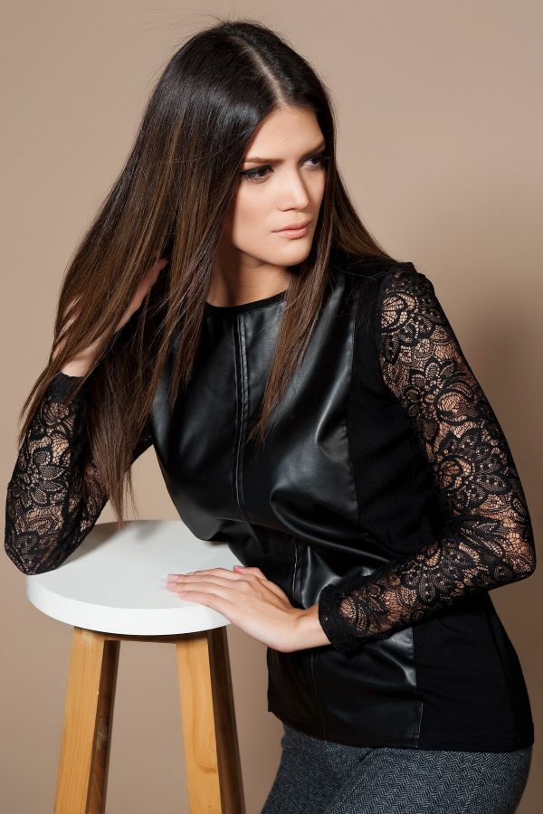 Dantelli Siyah Bluz Olgun Orkun 2015 Modelleri