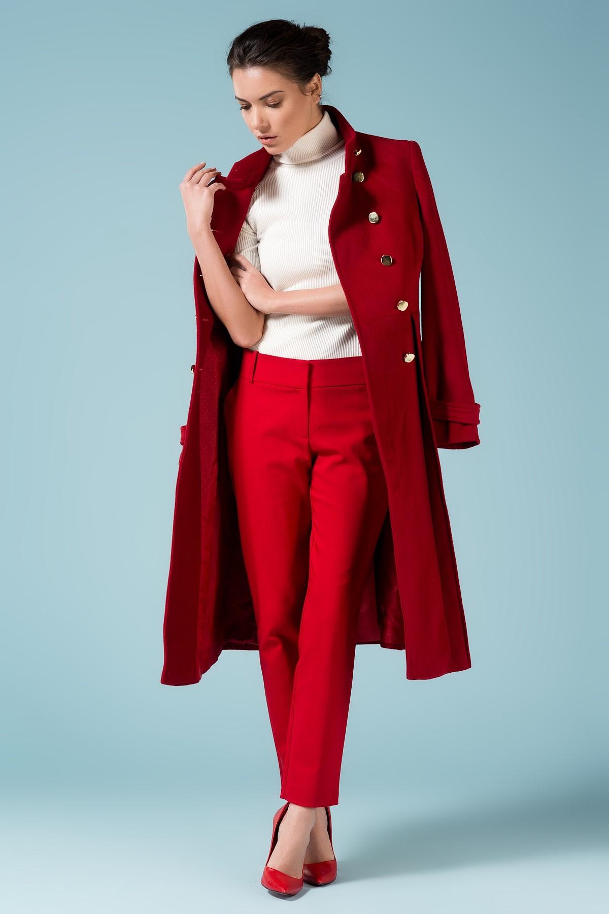 Kırmızı Kaban ve Pantolon Şık 2015 adL Modelleri