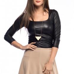 Siyah Deri 2015 Bluz Modelleri
