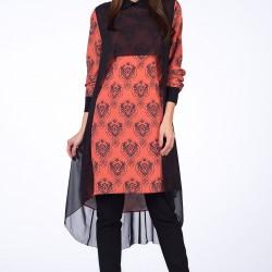 Tül Detaylı Somon Yeni Sezon 2 Yaka Tunik Modelleri