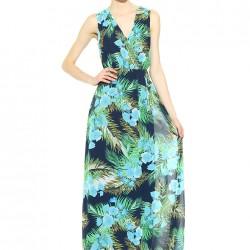 Çiçek Motifli Uzun Batik Yeni Sezon Elbise Modelleri