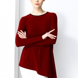 Asimetrik Kesim Bordo Bluz 2015 Laranor Modelleri