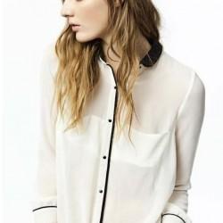 Beyaz 2015 Şifon Gömlek Modelleri