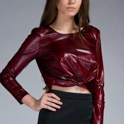 Bordo Bluz Twist Yeni Sezon Modelleri