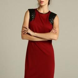 Deri Detaylı Kolsuz Elbise Trend Renk Marsala Modelleri
