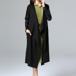 Deri Detaylı Uzun Ceket 2015 Laranor Modelleri