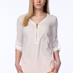 Fermuarlı Beyaz Bluz Mixray Sevgililer Gününe Özel Koleksiyon