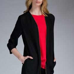 Siyah Uzun Ceket Twist Yeni Sezon Modelleri
