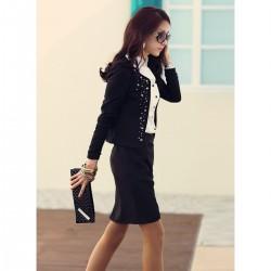 Siyah Yeni Taşlı Ceket Modeli
