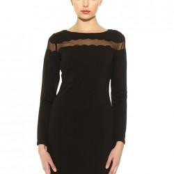 Tül Detaylı Siyah Batik Yeni Sezon Elbise Modelleri