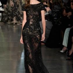 Transparan Siyah Elbise Elie Saab 2015 İlkbahar - Yaz Haute Couture Koleksiyonu
