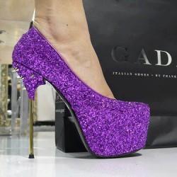 Çivi Topuk Mor Yeni Sezon Parlak Topuklu Ayakkabı Modelleri