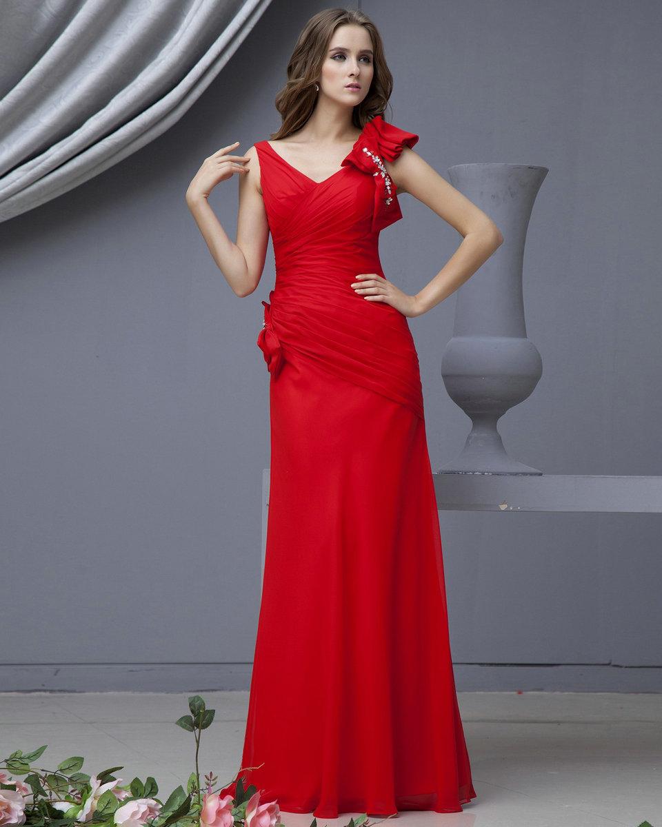 2015 Taşlı Kırmızı Abiye Modelleri