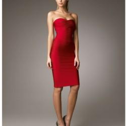 Bandaj Stili Kırmızı 2015 Straplez Abiye Modelleri