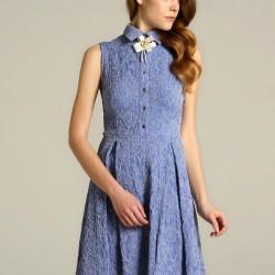 Broş Aksesuarlı Kolsuz Mavi 2015 Elbise Modelleri