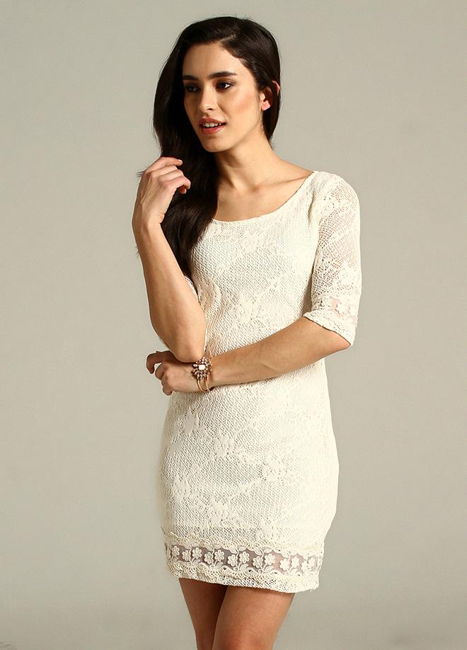 Dantelli Beyaz Mavi 2015 Elbise Modelleri