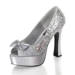Gümüş Rengi Taşlı Yeni Sezon Parlak Topuklu Ayakkabı Modelleri