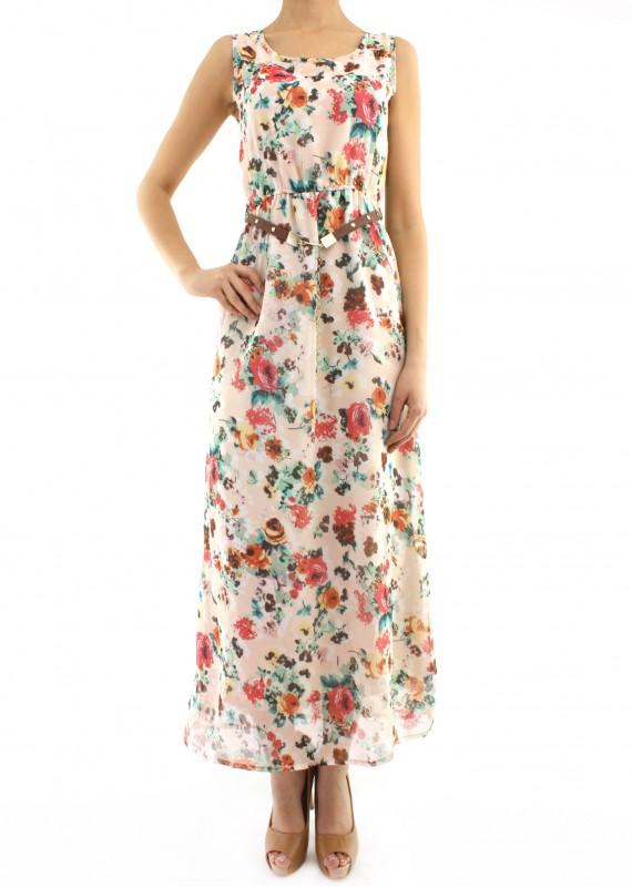 3dd874b45685a Kolsuz Uzun Yeni Sezon Çiçek Desenli Elbise Modelleri