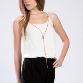 Kolyeli Beyaz Setre 2015 Bluz Modelleri