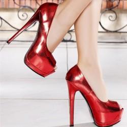 Koyu Kırmızı Yeni Sezon Parlak Topuklu Ayakkabı Modelleri