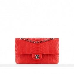 Piton Derisi Kırmızı Çanta Chanel Çanta ve Ayakkabı Modelleri