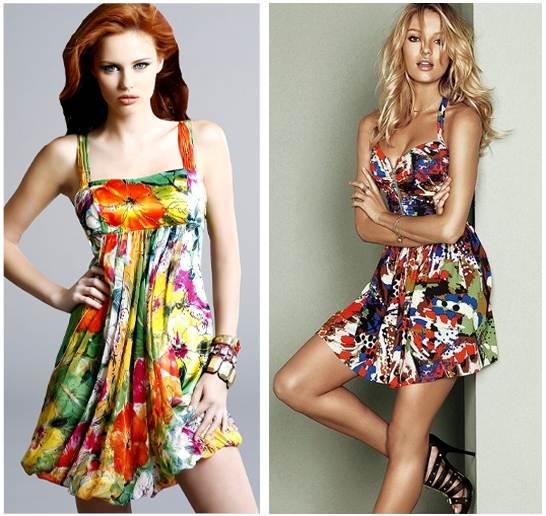 Rengarenk Yeni Sezon Çiçek Desenli Elbise Modelleri