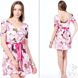 Sırt Dekolteli Yeni Sezon Çiçek Desenli Elbise Modelleri