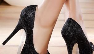 Simli Siyah Yeni Sezon Parlak Topuklu Ayakkabı Modelleri