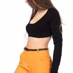 Siyah Crop Bluz Zara Yeni Sezon Modelleri