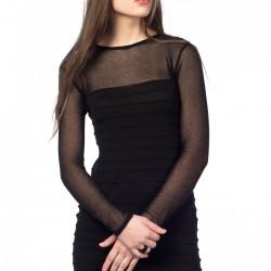 Tül Detaylı Siyah Elbise Zara Yeni Sezon Modelleri