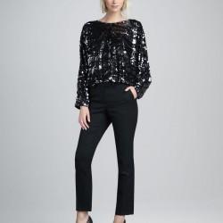 Uzun Kol Siyah Yeni Sezon Payetli Bluz Modelleri