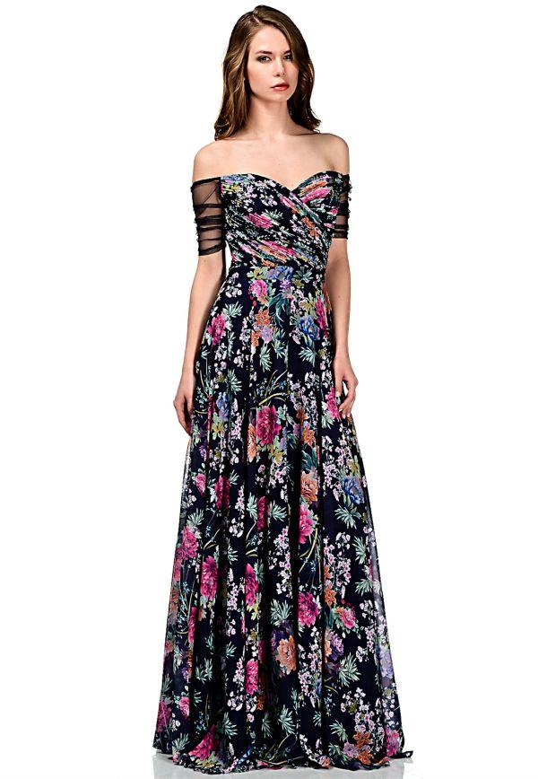 57da8b0e28293 Uzun Yeni Sezon Çiçek Desenli Elbise Modelleri