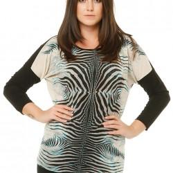 Zebra Desenli Büyük Beden Bluz Modelleri