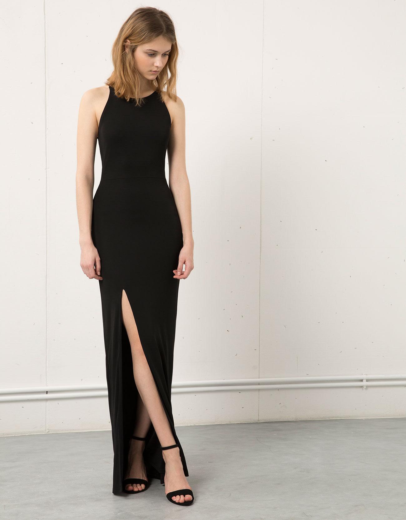 Bacak Yırtmaçlı Siyah Bershka 2015 Elbise Modelleri