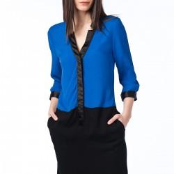 Cepli Saks Mavisi Elbise Nişantaşı Yeni Sezon Modelleri