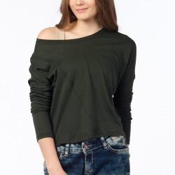 Düşük Omuzlu Yeşil Zara 2015 Bluz Modelleri
