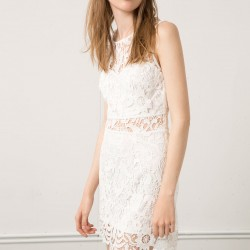 Dantelli Ekru Mini Bershka 2015 Elbise Modelleri